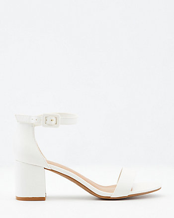 Faux Leather Ankle Strap Block Heel Sandal