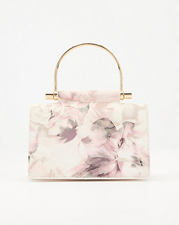 Floral Print Saffiano Faux Leather Clutch