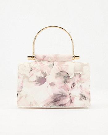 Pochette à motif floral en similicuir Saffiano