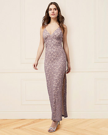 Sparkle Lace V-Neck Gown