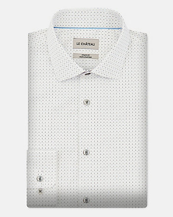 Dot Print Cotton Blend Regular Fit Shirt