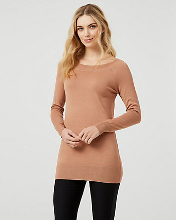 Knit Boat Neck Tunic Sweater