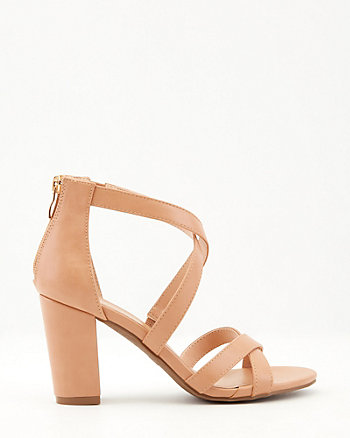 Faux Leather Criss-Cross Block Heel Sandal