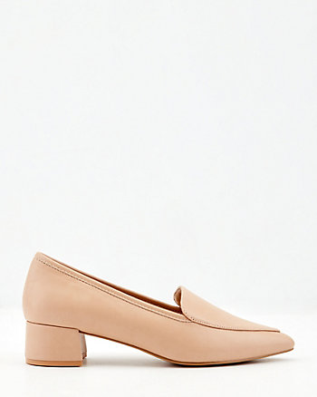 Faux Leather Pointy Toe Loafer Pump
