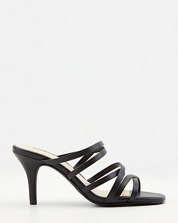 Faux Leather Square Toe Slide Sandal
