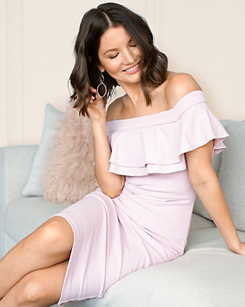 Knit Crêpe Off-the-Shoulder Dress