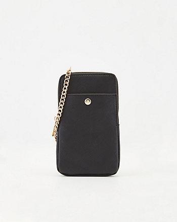 Saffiano Faux Leather Crossbody Wallet