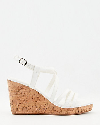 Strappy Faux Leather Wedge Sandal