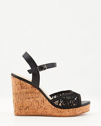Faux Leather & Lace Platform Wedge Sandal