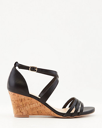 Faux Leather Strappy Wedge Sandal