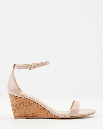 Patent Faux Leather Cork Wedge Sandal