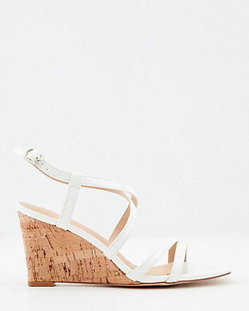 Strappy Patent Faux Leather Wedge Sandal