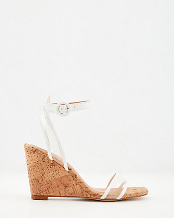 Translucent & Faux Leather Wedge Sandal