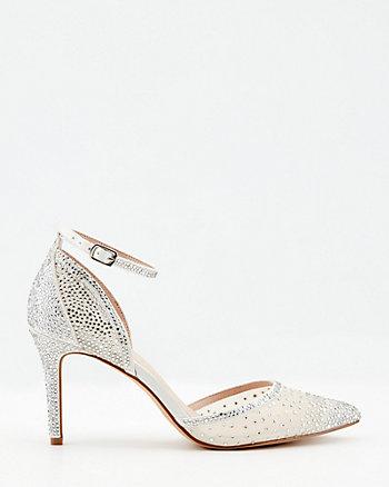 Jewel Embellished Satin Pointy Toe Pump