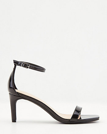 Patent Faux Leather Square Toe Sandal