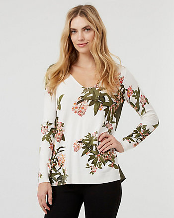 Floral Print Knit V-Neck High-Low Sweater