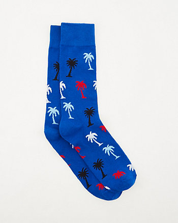 Palm Tree Print Cotton Blend Socks