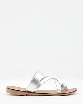 Metallic Leather Criss-Cross Slide Sandal