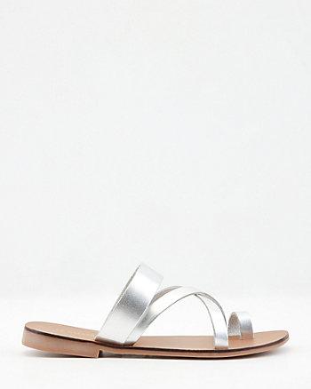 Sandale en cuir métallisé