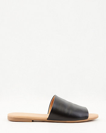 Leather Single Band Slide Sandal