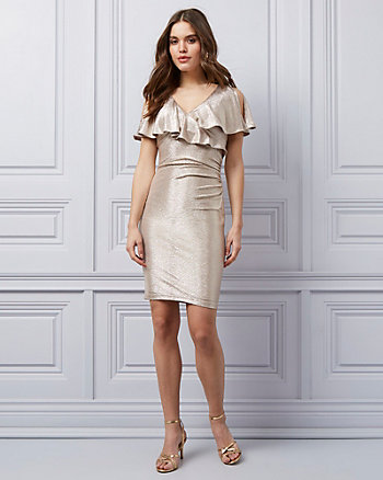 Foil Knit Wrap-Like Dress