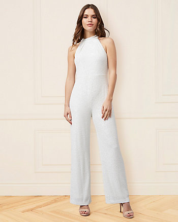 Sequin Halter Neck Wide Leg Jumpsuit