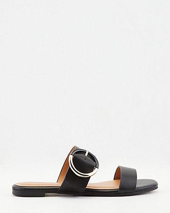 Faux Leather Square Toe Slide Sandal