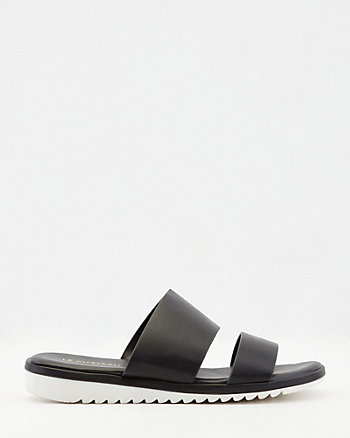 Faux Leather Double Band Slide Sandal