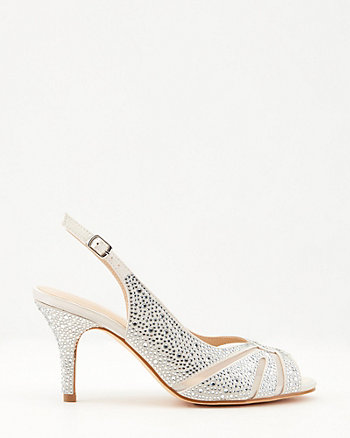 Jewel Embellished Satin Peep-Toe Pump