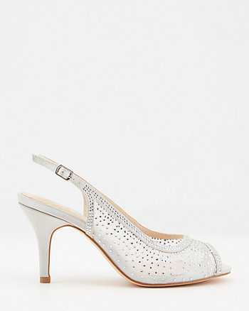 Jewel Embellished Satin Peep Toe Sandal