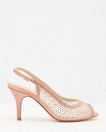 Jewel Embellished Satin Peep Toe Sandal