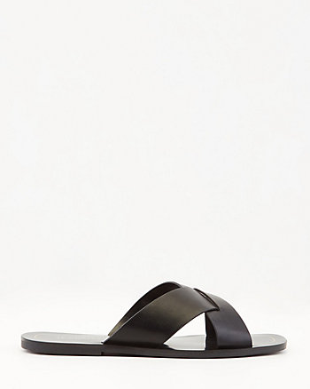 Faux Leather Criss-Cross Slide Sandal