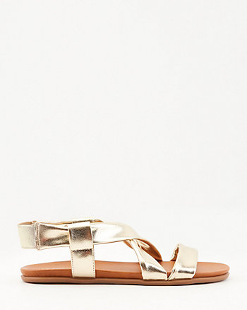 Faux Leather Criss-Cross Slingback Sandal