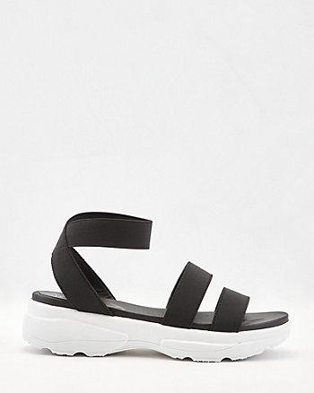 Sandale plateforme à lanières élastiques