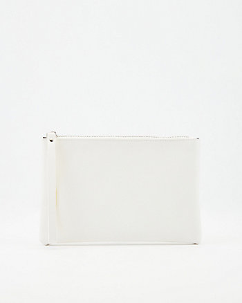 Saffiano Faux Leather Wristlet Pouch