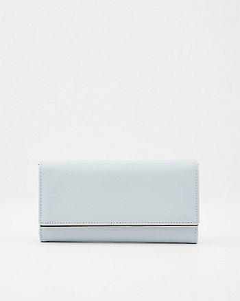 Saffiano Faux Leather Crossbody Wallet