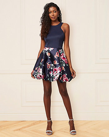 Floral Print Knit Halter Neck Party Dress