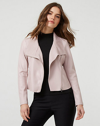 Faux Leather Aviator Jacket