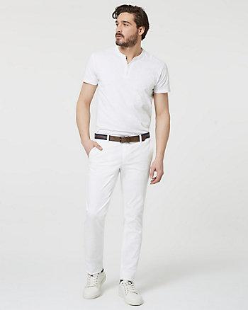 Stretch Cotton Slim Leg Pant with Belt