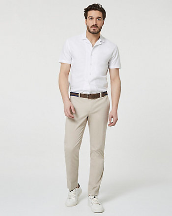 Stretch Cotton Slim Leg Pant with Belt