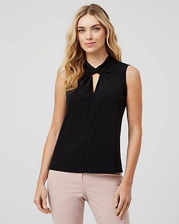 Knit Crêpe Mock Neck Top