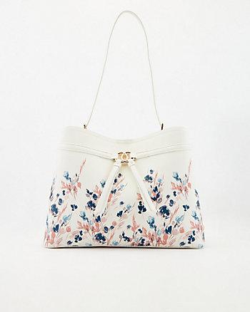 Sac trapèze à motif floral en similicuir