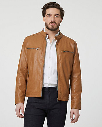 Faux Leather Zip-Front Moto Jacket