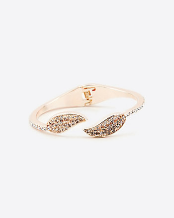 Gem Encrusted Leaf Open-Cuff Bracelet