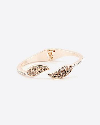 Bracelet-manchette à feuilles serties de pierres