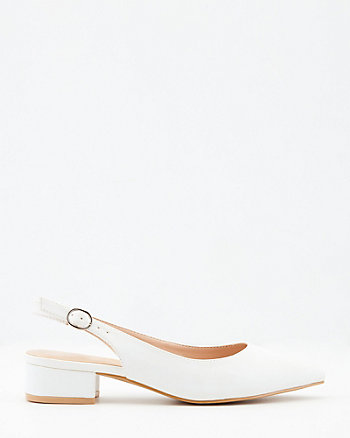 Faux Leather Pointy Toe Slingback Pump
