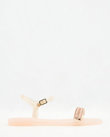 Jewel Embellished Square Toe Jelly Sandal