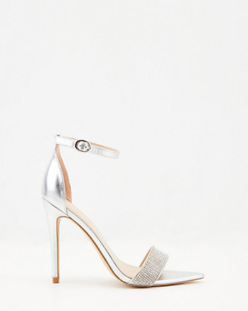 Jewelled Metallic Faux Leather Sandal