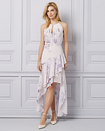 Watercolour Floral Chiffon Ruffle High-Low Gown