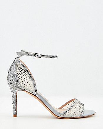 Jewel Embellished Satin & Mesh Sandal